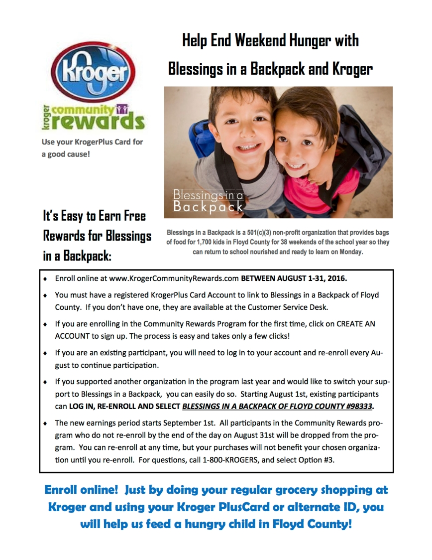 Support Blessings Through Kroger Rewards Program
